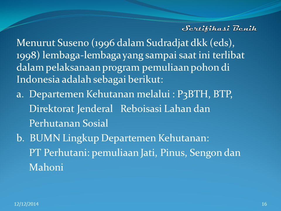Menurut Suseno (1996 dalam Sudradjat dkk (eds), 1998) lembaga-lembaga yang sampai saat ini terlibat dalam pelaksanaan program pemuliaan pohon di Indon