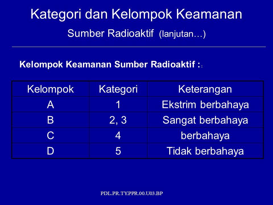 PDL.PR.TY.PPR.00.U03.BP Kategori dan Kelompok Keamanan Sumber Radioaktif (lanjutan…) Kelompok Keamanan Sumber Radioaktif : : KelompokKategoriKeterangan A1Ekstrim berbahaya B2, 3Sangat berbahaya C4berbahaya D5Tidak berbahaya