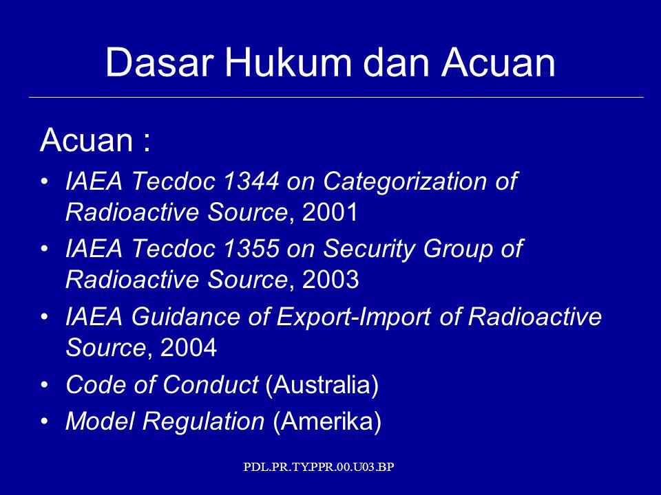 PDL.PR.TY.PPR.00.U03.BP Dasar Hukum dan Acuan Acuan : IAEA Tecdoc 1344 on Categorization of Radioactive Source, 2001 IAEA Tecdoc 1355 on Security Grou