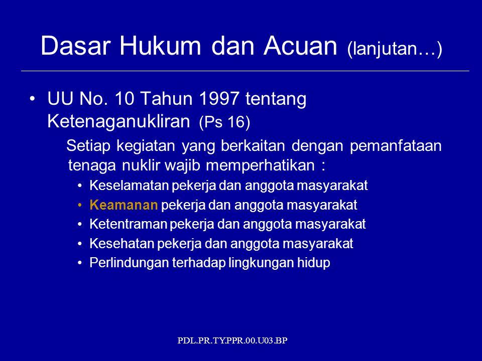 PDL.PR.TY.PPR.00.U03.BP Dasar Hukum dan Acuan (lanjutan…) UU No. 10 Tahun 1997 tentang Ketenaganukliran (Ps 16) Setiap kegiatan yang berkaitan dengan