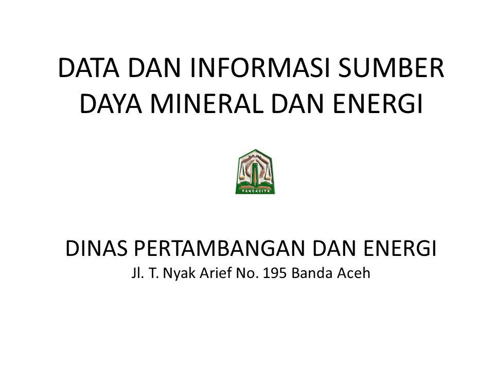 DATA DAN INFORMASI SUMBER DAYA MINERAL DAN ENERGI DINAS PERTAMBANGAN DAN ENERGI Jl. T. Nyak Arief No. 195 Banda Aceh