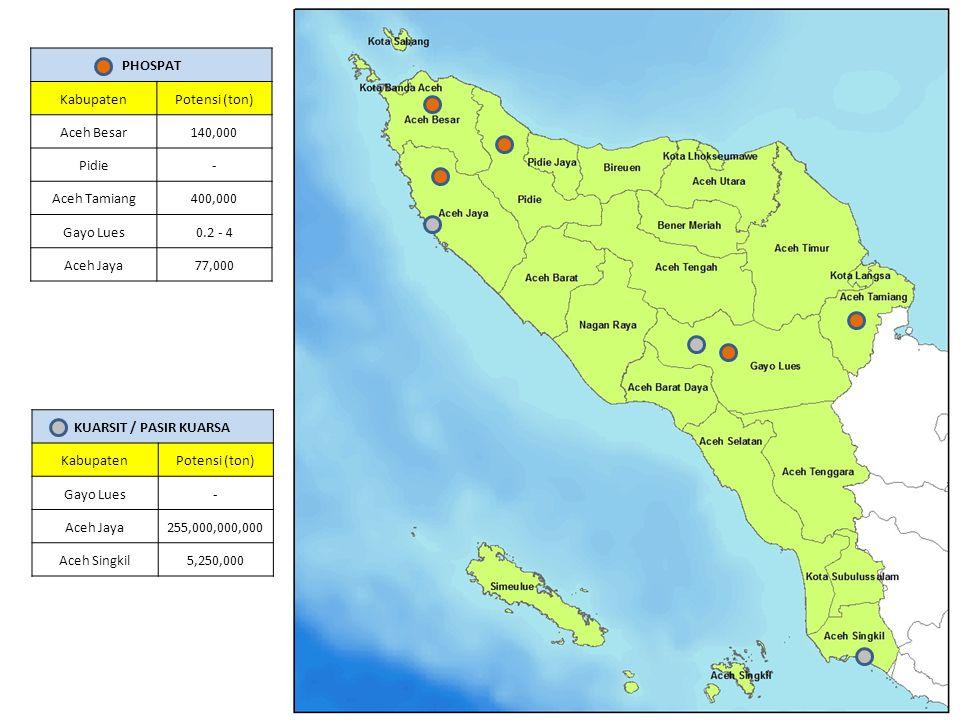 KUARSIT / PASIR KUARSA KabupatenPotensi (ton) Gayo Lues- Aceh Jaya255,000,000,000 Aceh Singkil5,250,000 PHOSPAT KabupatenPotensi (ton) Aceh Besar140,0