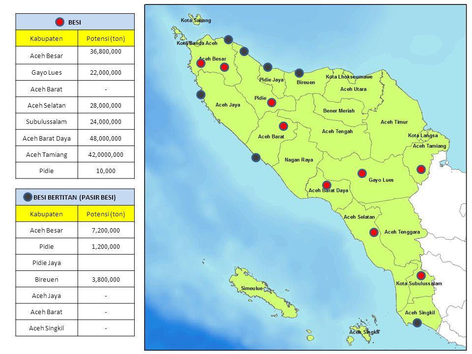 BESI KabupatenPotensi (ton) Aceh Besar 36,800,000 Gayo Lues22,000,000 Aceh Barat- Aceh Selatan28,000,000 Subulussalam24,000,000 Aceh Barat Daya48,000,