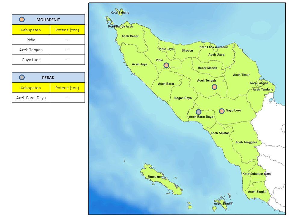 MOLIBDENIT KabupatenPotensi (ton) Pidie- Aceh Tengah- Gayo Lues- PERAK KabupatenPotensi (ton) Aceh Barat Daya-