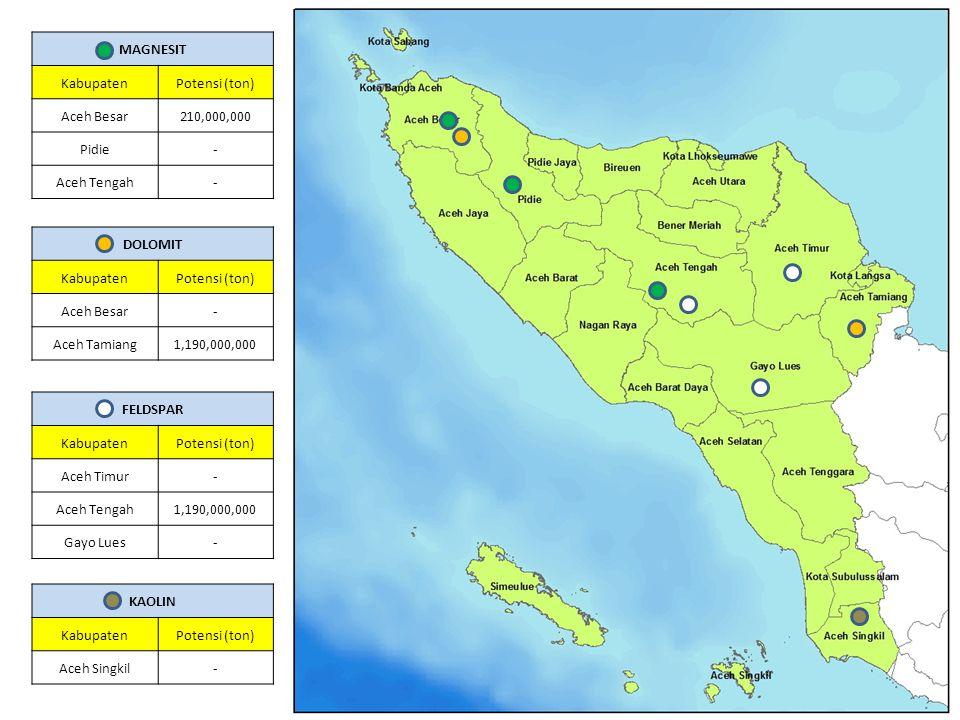 FELDSPAR KabupatenPotensi (ton) Aceh Timur- Aceh Tengah1,190,000,000 Gayo Lues- MAGNESIT KabupatenPotensi (ton) Aceh Besar210,000,000 Pidie- Aceh Teng