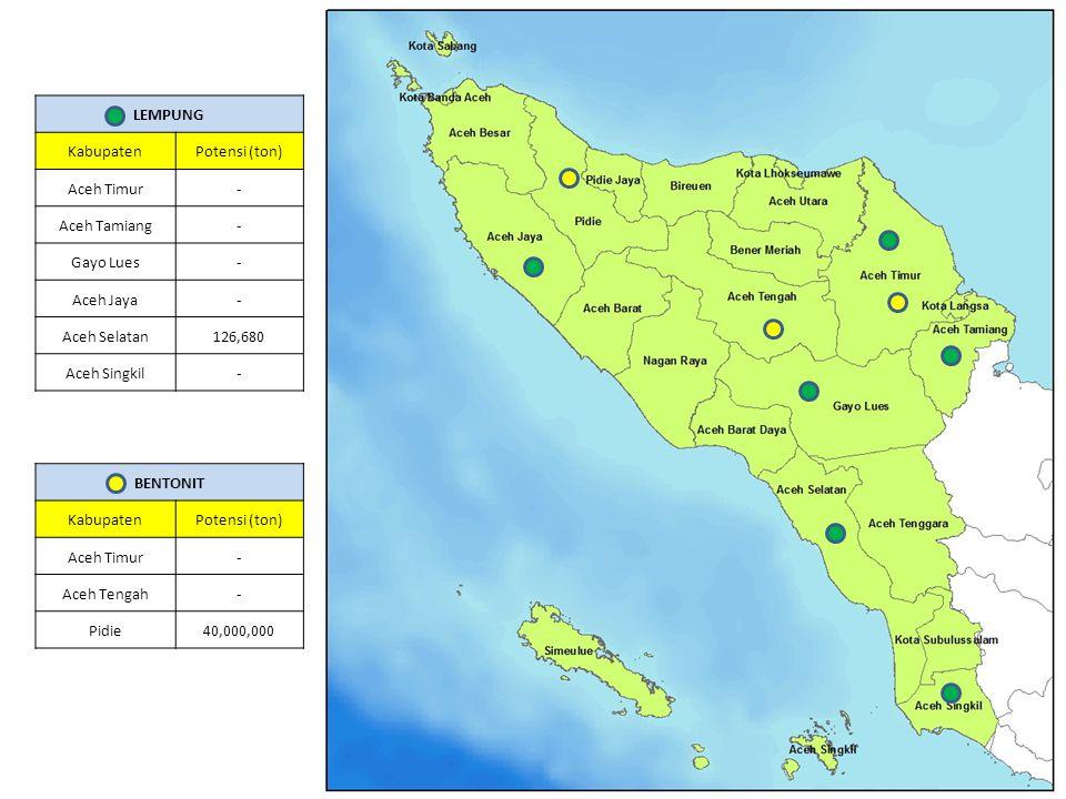 BENTONIT KabupatenPotensi (ton) Aceh Timur- Aceh Tengah- Pidie40,000,000 LEMPUNG KabupatenPotensi (ton) Aceh Timur- Aceh Tamiang- Gayo Lues- Aceh Jaya