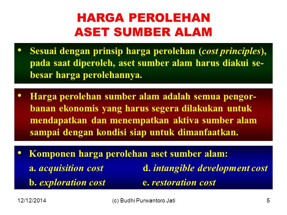 12/12/2014(c) Budhi Purwantoro Jati5 Sesuai dengan prinsip harga perolehan (cost principles), pada saat diperoleh, aset sumber alam harus diakui se- besar harga perolehannya.