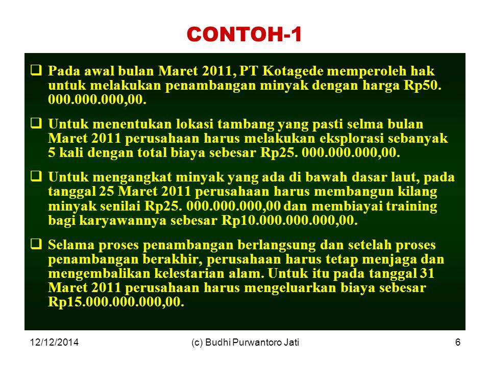 12/12/2014(c) Budhi Purwantoro Jati6 CONTOH-1  Pada awal bulan Maret 2011, PT Kotagede memperoleh hak untuk melakukan penambangan minyak dengan harga Rp50.