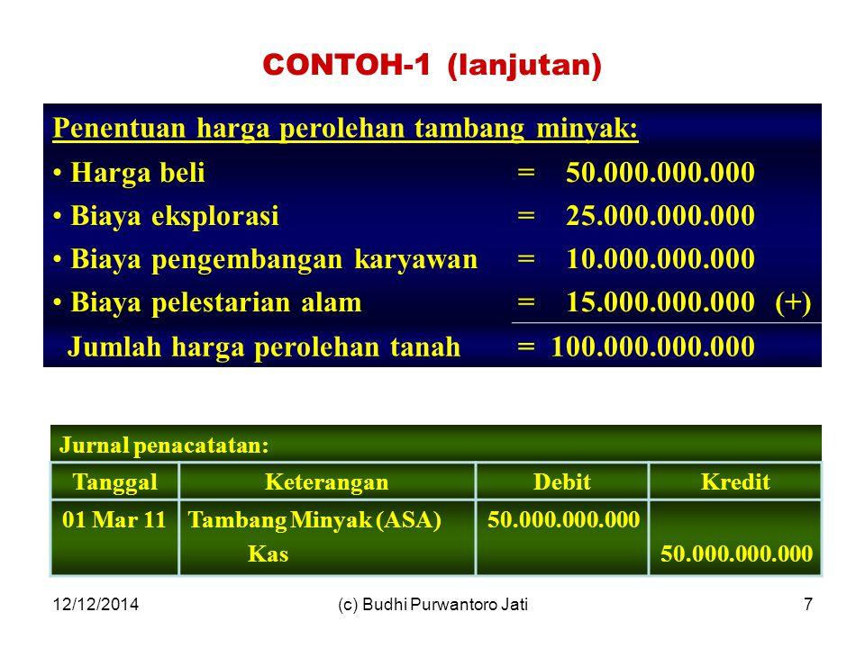 12/12/2014(c) Budhi Purwantoro Jati7 Penentuan harga perolehan tambang minyak: Harga beli Biaya eksplorasi Biaya pengembangan karyawan Biaya pelestarian alam ======== 50.000.000.000 25.000.000.000 10.000.000.000 15.000.000.000(+) Jumlah harga perolehan tanah=100.000.000.000 CONTOH-1 (lanjutan) Jurnal penacatatan: TanggalKeteranganDebitKredit 01 Mar 11Tambang Minyak (ASA) Kas 50.000.000.000