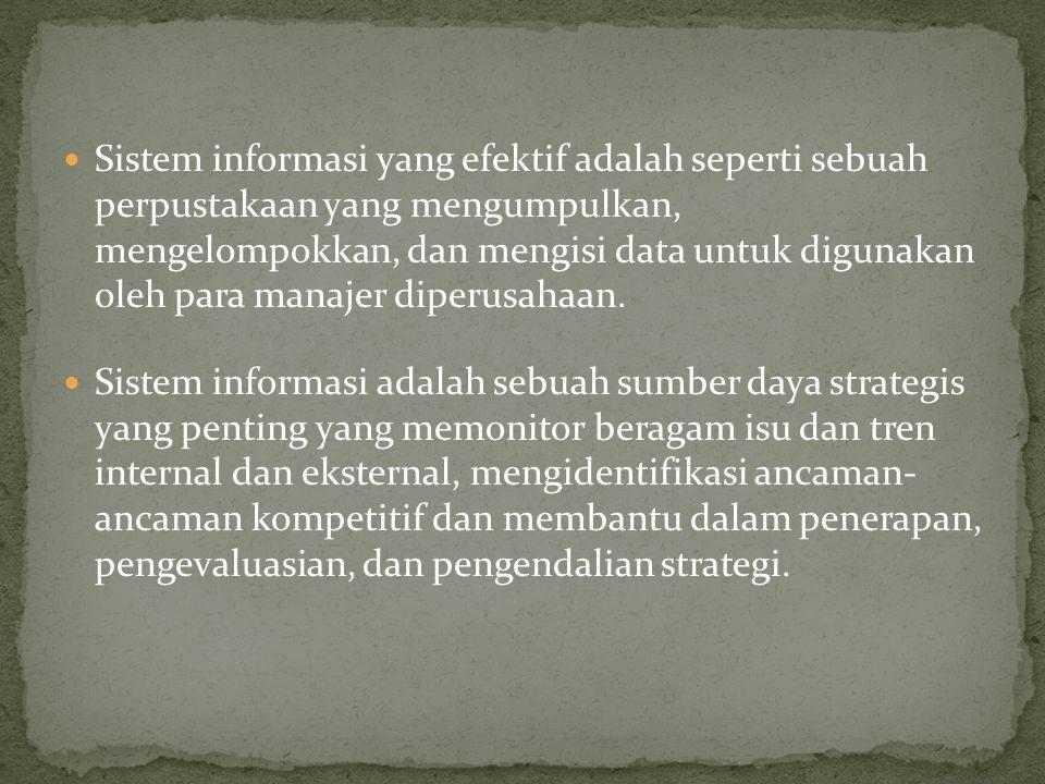 Sistem informasi yang efektif adalah seperti sebuah perpustakaan yang mengumpulkan, mengelompokkan, dan mengisi data untuk digunakan oleh para manajer diperusahaan.
