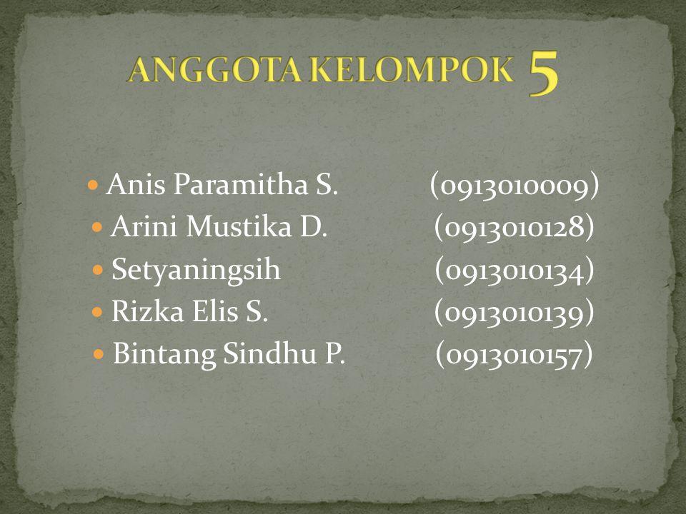 Anis Paramitha S.(0913010009) Arini Mustika D.(0913010128) Setyaningsih (0913010134) Rizka Elis S.