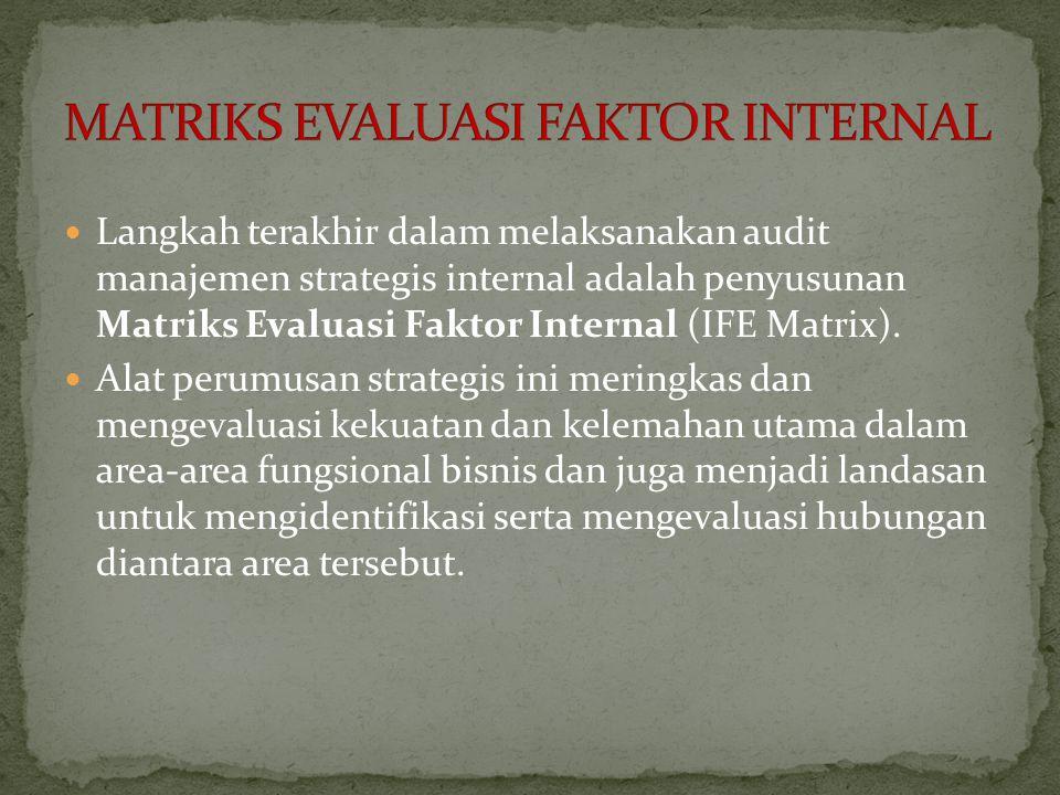 Langkah terakhir dalam melaksanakan audit manajemen strategis internal adalah penyusunan Matriks Evaluasi Faktor Internal (IFE Matrix).