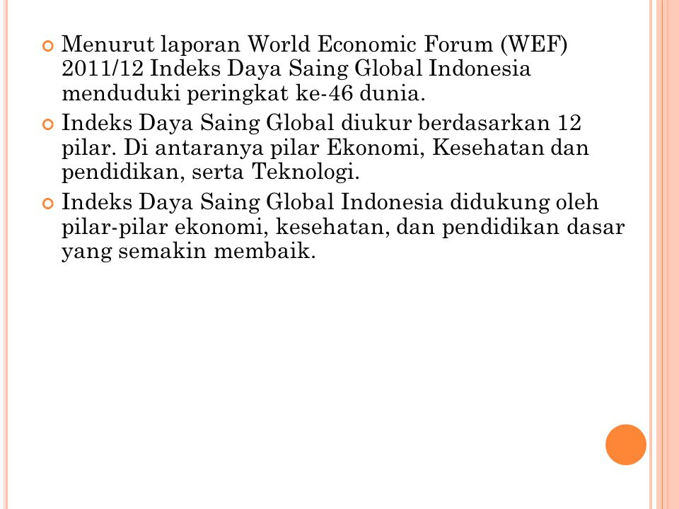 Menurut laporan World Economic Forum (WEF) 2011/12 Indeks Daya Saing Global Indonesia menduduki peringkat ke-46 dunia. Indeks Daya Saing Global diukur