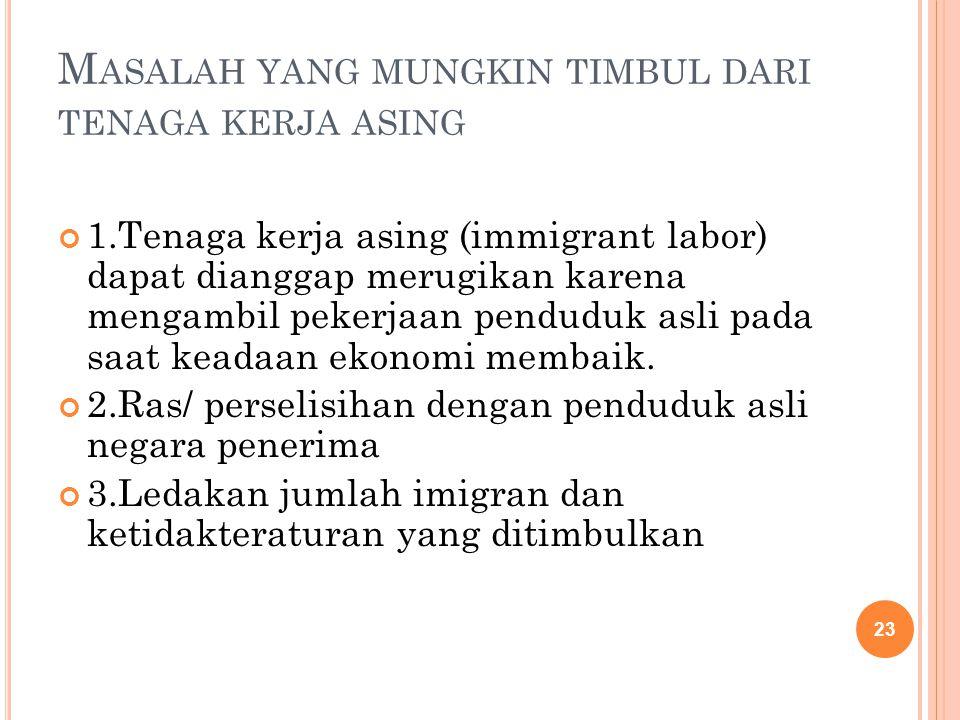 M ASALAH YANG MUNGKIN TIMBUL DARI TENAGA KERJA ASING 1.Tenaga kerja asing (immigrant labor) dapat dianggap merugikan karena mengambil pekerjaan pendud