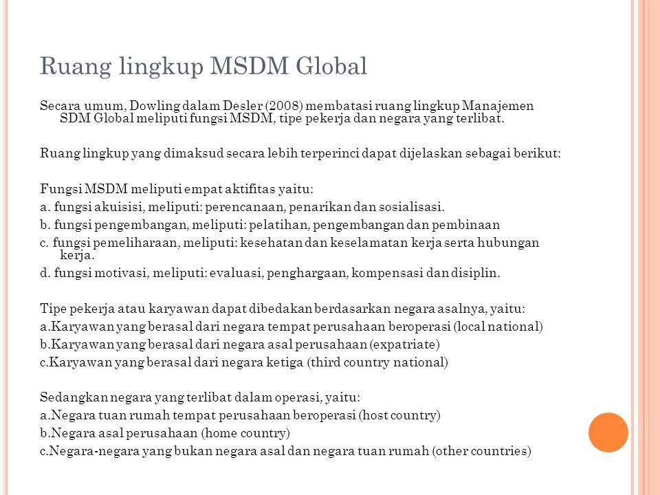 Ruang lingkup MSDM Global Secara umum, Dowling dalam Desler (2008) membatasi ruang lingkup Manajemen SDM Global meliputi fungsi MSDM, tipe pekerja dan