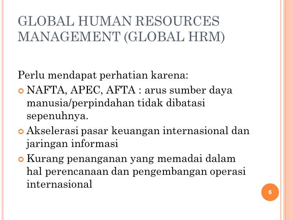 GLOBAL HUMAN RESOURCES MANAGEMENT (GLOBAL HRM) Perlu mendapat perhatian karena: NAFTA, APEC, AFTA : arus sumber daya manusia/perpindahan tidak dibatas
