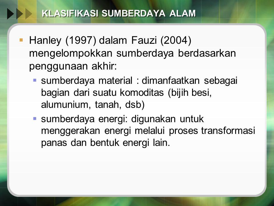 KLASIFIKASI SUMBERDAYA ALAM  Hanley (1997) dalam Fauzi (2004) mengelompokkan sumberdaya berdasarkan penggunaan akhir:  sumberdaya material : dimanfa