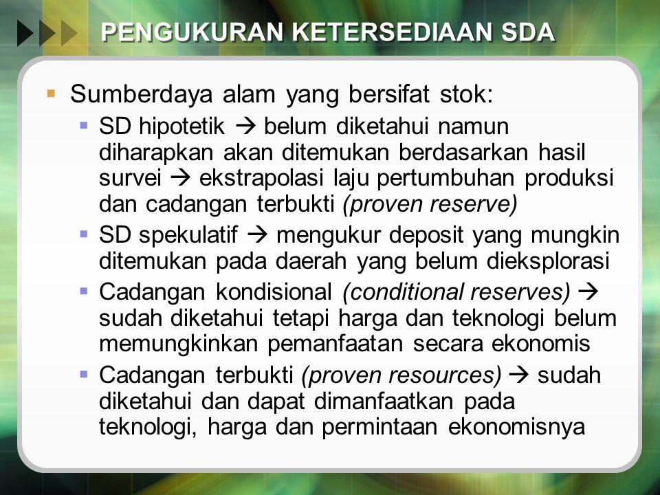 PENGUKURAN KETERSEDIAAN SDA  Sumberdaya alam yang bersifat stok:  SD hipotetik  belum diketahui namun diharapkan akan ditemukan berdasarkan hasil s