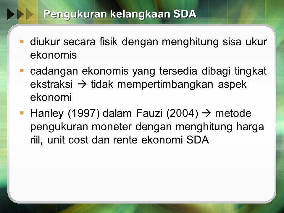 Pengukuran kelangkaan SDA  diukur secara fisik dengan menghitung sisa ukur ekonomis  cadangan ekonomis yang tersedia dibagi tingkat ekstraksi  tida