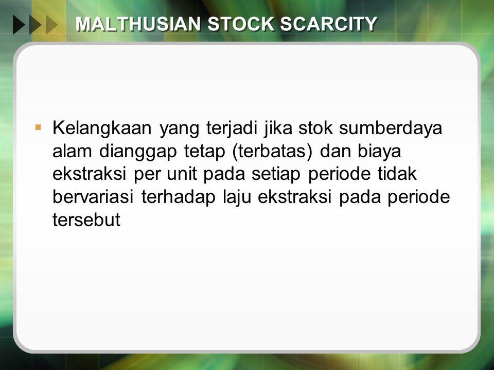 MALTHUSIAN STOCK SCARCITY  Kelangkaan yang terjadi jika stok sumberdaya alam dianggap tetap (terbatas) dan biaya ekstraksi per unit pada setiap perio