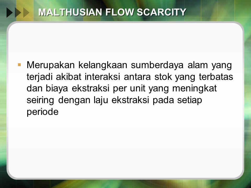 MALTHUSIAN FLOW SCARCITY  Merupakan kelangkaan sumberdaya alam yang terjadi akibat interaksi antara stok yang terbatas dan biaya ekstraksi per unit y