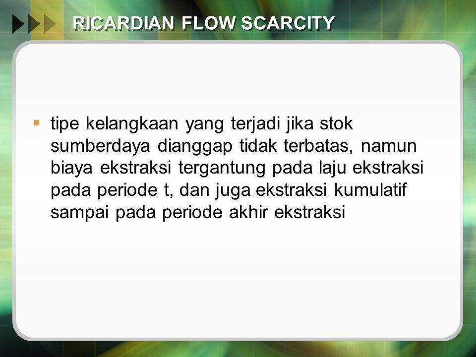 RICARDIAN FLOW SCARCITY  tipe kelangkaan yang terjadi jika stok sumberdaya dianggap tidak terbatas, namun biaya ekstraksi tergantung pada laju ekstra