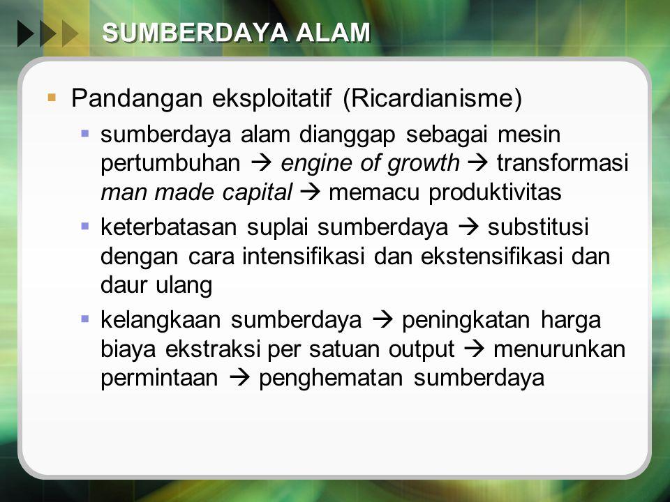 SUMBERDAYA ALAM  Pandangan eksploitatif (Ricardianisme)  sumberdaya alam dianggap sebagai mesin pertumbuhan  engine of growth  transformasi man ma