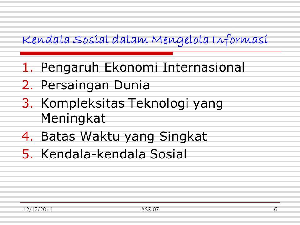 12/12/2014ASR'076 Kendala Sosial dalam Mengelola Informasi 1.Pengaruh Ekonomi Internasional 2.Persaingan Dunia 3.Kompleksitas Teknologi yang Meningkat