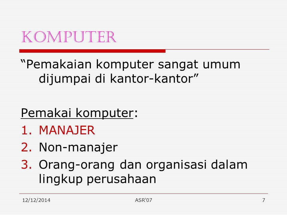 12/12/2014ASR 077 Komputer Pemakaian komputer sangat umum dijumpai di kantor-kantor Pemakai komputer: 1.MANAJER 2.Non-manajer 3.Orang-orang dan organisasi dalam lingkup perusahaan