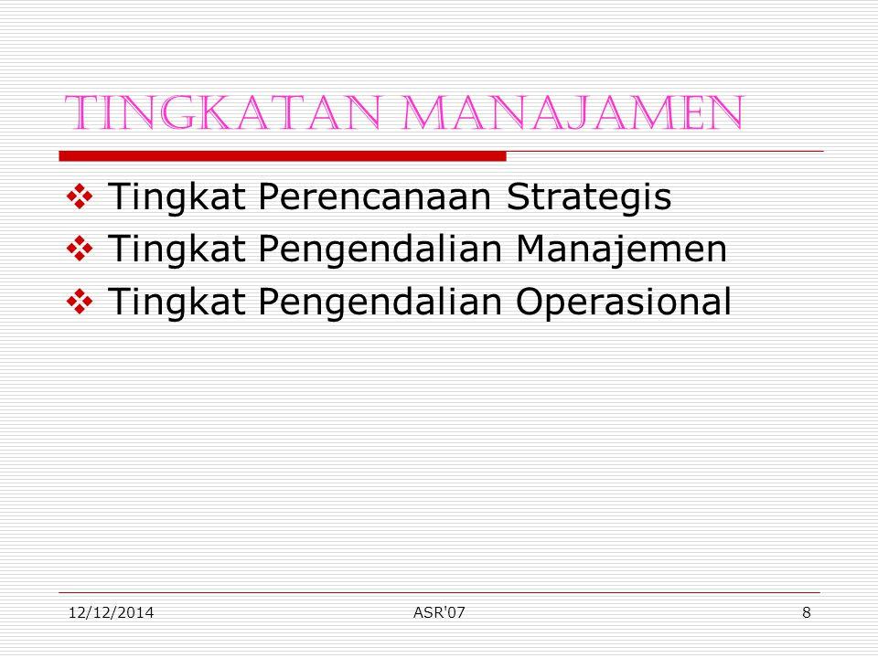 12/12/2014ASR 078 Tingkatan Manajamen  Tingkat Perencanaan Strategis  Tingkat Pengendalian Manajemen  Tingkat Pengendalian Operasional