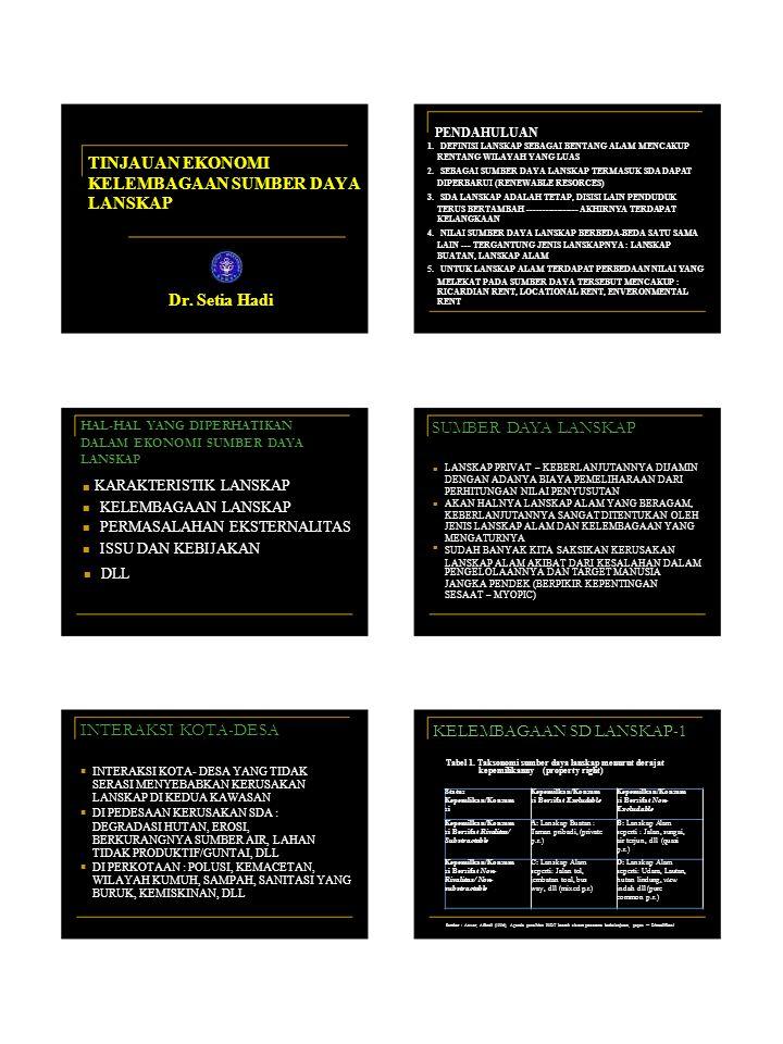 Status Kepemlikan/Konsum si Kepemilkan/Konsum si Bersifat Excludable Kepemilkan/Konsum si Bersifat Non- Excludable Kepemilkan/Konsum si Bersifat Rivalitas/ Substractable A: Lanskap Buatan : Taman pribadi, (private p.r.) B: Lanskap Alam seperti : Jalan, sungai, air terjun, dll (quasi p.r.) Kepemilkan/Konsum si Bersifat Non- Rivalitas/ Non- substractable C: Lanskap Alam seperti: Jalan tol, jembatan toal, bus way, dll (mixed p.r.) D: Lanskap Alam seperti: Udara, Lautan, hutan lindung, view indah dll (pure common p.r.) PENDAHULUAN 1.