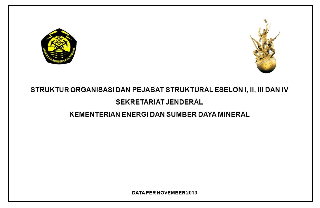 STRUKTUR ORGANISASI DAN PEJABAT STRUKTURAL ESELON I, II, III DAN IV SEKRETARIAT JENDERAL KEMENTERIAN ENERGI DAN SUMBER DAYA MINERAL DATA PER NOVEMBER 2013