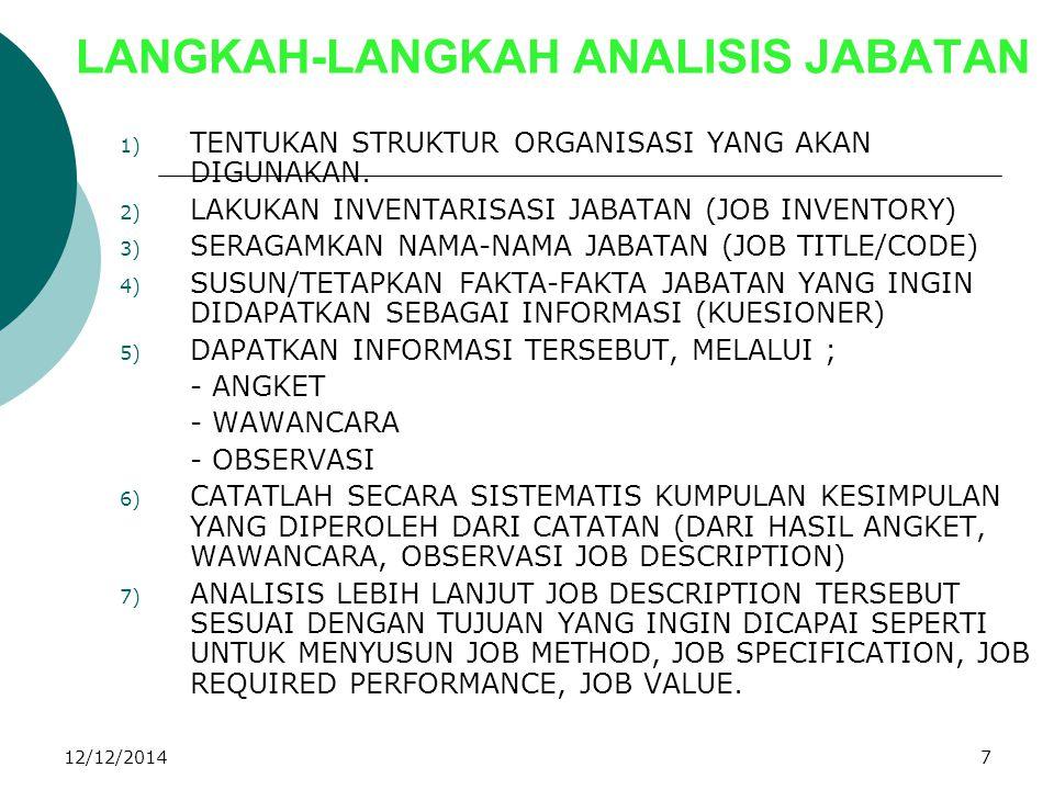 12/12/20147 LANGKAH-LANGKAH ANALISIS JABATAN 1) TENTUKAN STRUKTUR ORGANISASI YANG AKAN DIGUNAKAN. 2) LAKUKAN INVENTARISASI JABATAN (JOB INVENTORY) 3)
