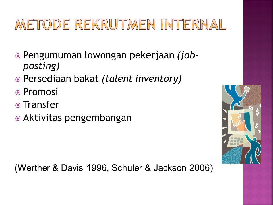  Pengumuman lowongan pekerjaan (job- posting)  Persediaan bakat (talent inventory)  Promosi  Transfer  Aktivitas pengembangan (Werther & Davis 19