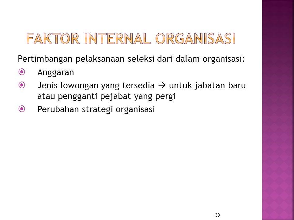 Pertimbangan pelaksanaan seleksi dari dalam organisasi:  Anggaran  Jenis lowongan yang tersedia  untuk jabatan baru atau pengganti pejabat yang per