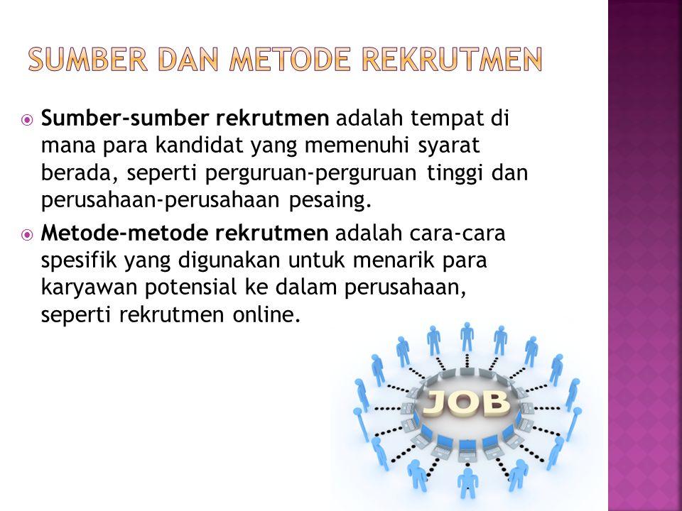  Perekrut Internet (Internet recruiter): Orang yang pekerjaan utamanya menjalankan proses rekrutmen melalui Internet, disebut juga sebagai perekrut maya (cyber recruiter)  Bursa kerja vitual (virtual job fair):Metode perekrutan online yang dilakukan oleh satu pemberi kerja atau sekelompok pemberi kerja untuk menarik sejumlah besar pelamar.