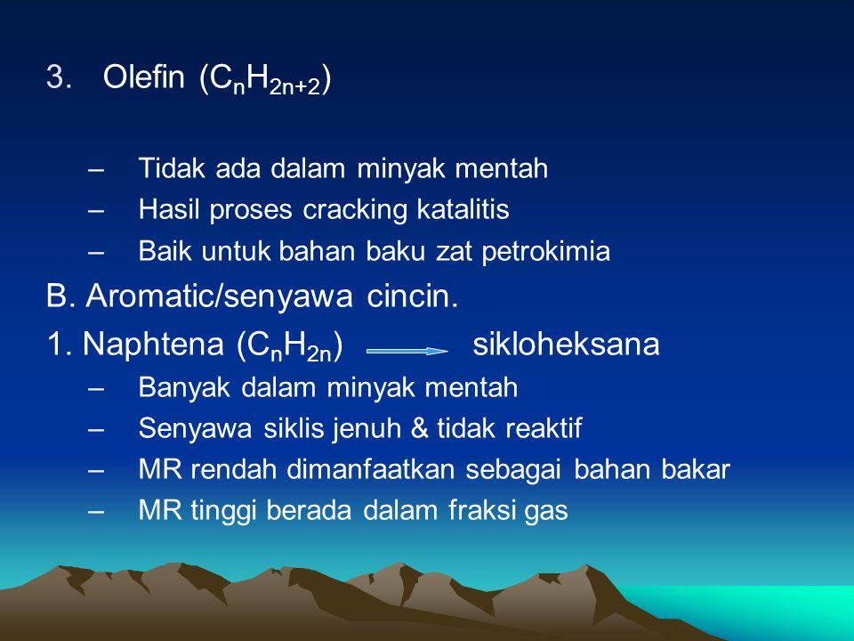 3.Olefin (C n H 2n+2 ) –Tidak ada dalam minyak mentah –Hasil proses cracking katalitis –Baik untuk bahan baku zat petrokimia B.