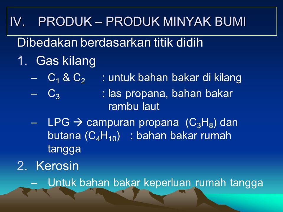 IV. PRODUK – PRODUK MINYAK BUMI Dibedakan berdasarkan titik didih 1.Gas kilang –C 1 & C 2 : untuk bahan bakar di kilang –C 3 : las propana, bahan baka