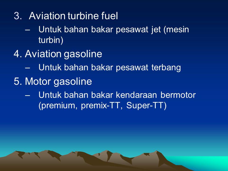 3.Aviation turbine fuel –Untuk bahan bakar pesawat jet (mesin turbin) 4.