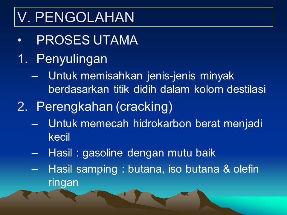 V. PENGOLAHAN PROSES UTAMA 1.Penyulingan –Untuk memisahkan jenis-jenis minyak berdasarkan titik didih dalam kolom destilasi 2.Perengkahan (cracking) –
