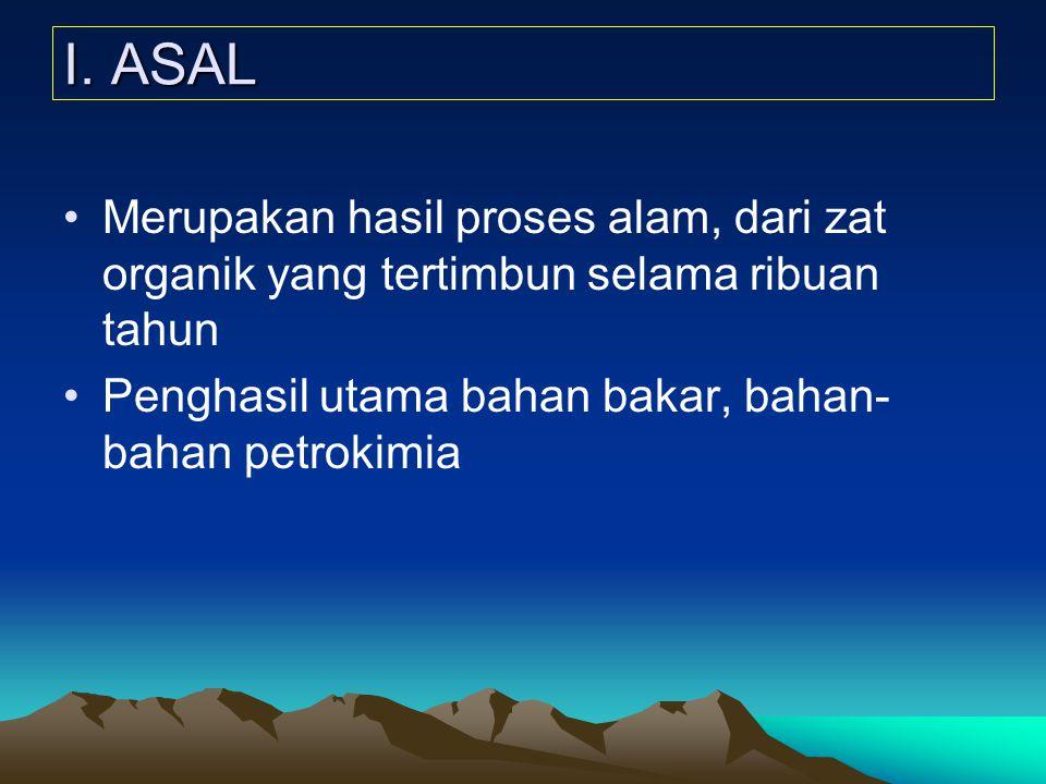 I. ASAL Merupakan hasil proses alam, dari zat organik yang tertimbun selama ribuan tahun Penghasil utama bahan bakar, bahan- bahan petrokimia