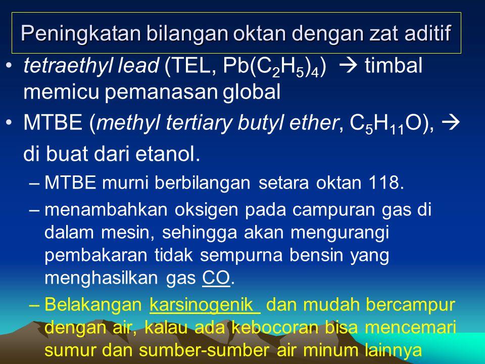 Peningkatan bilangan oktan dengan zat aditif tetraethyl lead (TEL, Pb(C 2 H 5 ) 4 )  timbal memicu pemanasan global MTBE (methyl tertiary butyl ether, C 5 H 11 O),  di buat dari etanol.