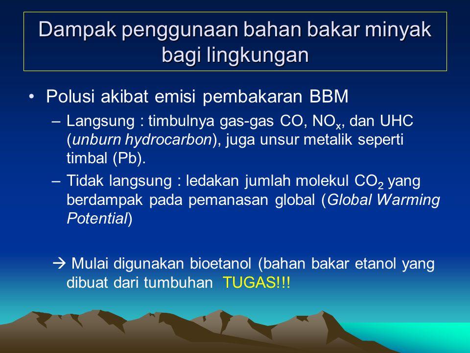 Dampak penggunaan bahan bakar minyak bagi lingkungan Polusi akibat emisi pembakaran BBM –Langsung : timbulnya gas-gas CO, NO x, dan UHC (unburn hydrocarbon), juga unsur metalik seperti timbal (Pb).