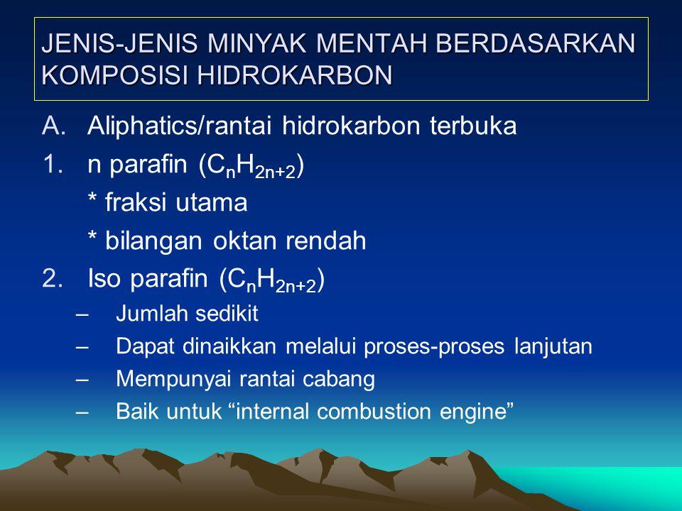 JENIS-JENIS MINYAK MENTAH BERDASARKAN KOMPOSISI HIDROKARBON A.Aliphatics/rantai hidrokarbon terbuka 1.n parafin (C n H 2n+2 ) * fraksi utama * bilangan oktan rendah 2.Iso parafin (C n H 2n+2 ) –Jumlah sedikit –Dapat dinaikkan melalui proses-proses lanjutan –Mempunyai rantai cabang –Baik untuk internal combustion engine