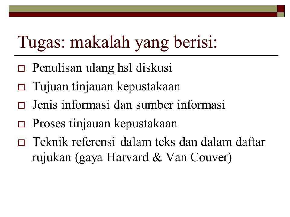 Tugas: makalah yang berisi:  Penulisan ulang hsl diskusi  Tujuan tinjauan kepustakaan  Jenis informasi dan sumber informasi  Proses tinjauan kepus