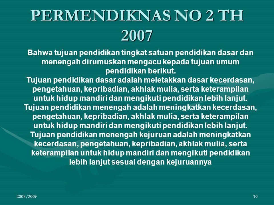 PERMENDIKNAS NO 2 TH 2007 2008/200910 Bahwa tujuan pendidikan tingkat satuan pendidikan dasar dan menengah dirumuskan mengacu kepada tujuan umum pendi