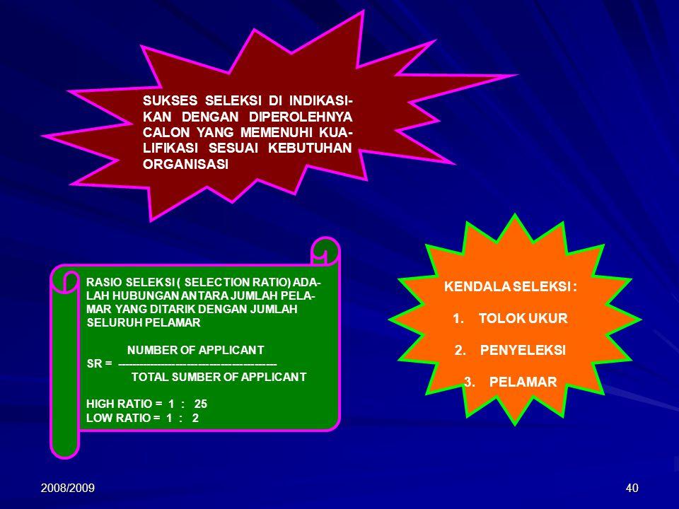 2008/200940 SUKSES SELEKSI DI INDIKASI- KAN DENGAN DIPEROLEHNYA CALON YANG MEMENUHI KUA- LIFIKASI SESUAI KEBUTUHAN ORGANISASI RASIO SELEKSI ( SELECTIO