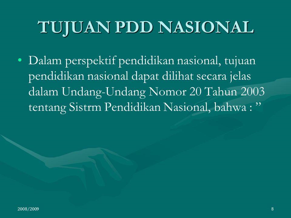 TUJUAN PDD NASIONAL Dalam perspektif pendidikan nasional, tujuan pendidikan nasional dapat dilihat secara jelas dalam Undang-Undang Nomor 20 Tahun 200