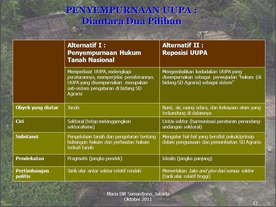 12 PENYEMPURNAAN UUPA : Diantara Dua Pilihan Alternatif I : Penyempurnaan Hukum Tanah Nasional Alternatif II : Reposisi UUPA Memperkuat UUPA, melengka