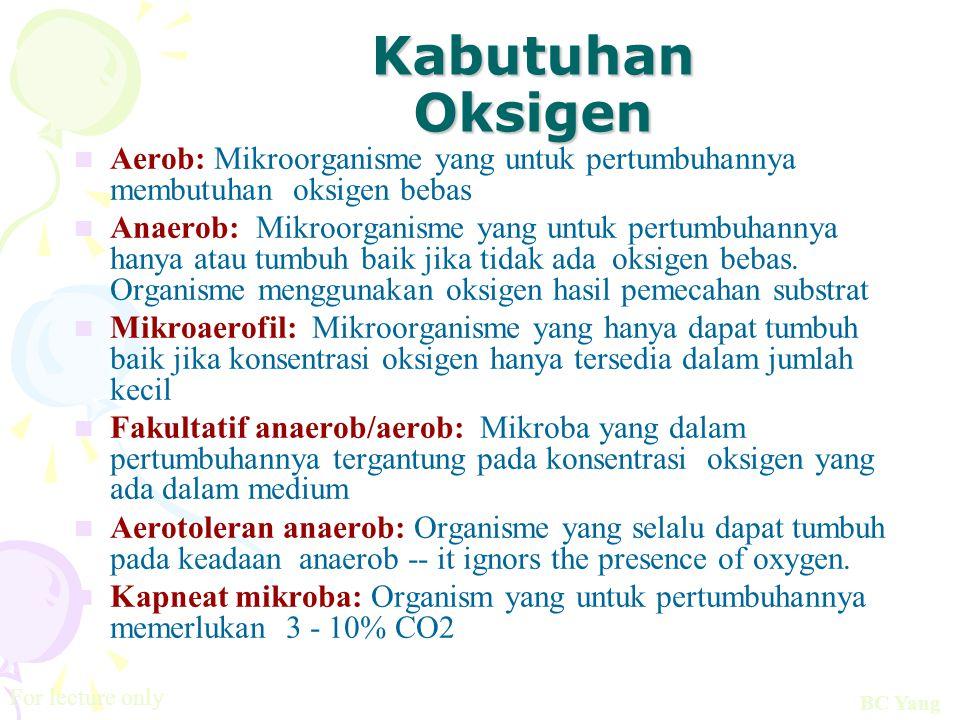 Kabutuhan Oksigen Aerob: Mikroorganisme yang untuk pertumbuhannya membutuhan oksigen bebas Anaerob: Mikroorganisme yang untuk pertumbuhannya hanya ata